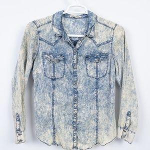 Vtg 80's Acid Wash Denim Western Shirt Womens Sz L